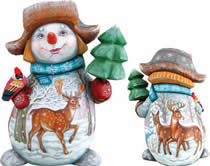 Artistic Wood Carved Reindeer and Snowman Sculpture