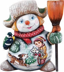 Artistic Wood Carved Friends Forever Snowman Sculpture