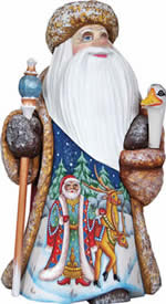 Artistic Wood Carved Christmas Goose Santa Claus Sculpture