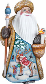 Artistic Wood Carved Santa Claus Arrival Sculpture