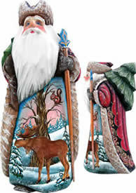 Artistic Wood Carved Santa Claus & Moose Merry Wonder Sculpture