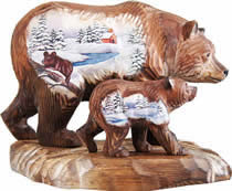 Bears Family Wood Carved Sculpture