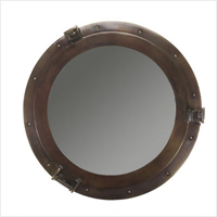 Large Bronze Lounge Porthole Mirror