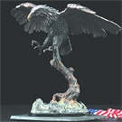 Bronze American Eagle Sculpture on Wood Base