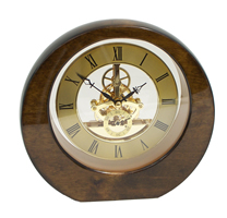 Piano Finish Walnut Garni Clock w/ Skeleton Movement