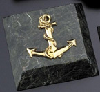 Green Marble/Gold Plated Anchor Paperweight