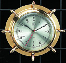 Brass Quartz Ship's Wheel Clock