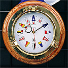 Brass Porthole Quartz Clock on Oak w/ Nautical Numbers