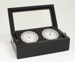Chrome Clock & Thermometer Weather Station in Black Box w/ Glass Top