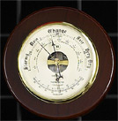 Brass Barometer/Thermometer on Cherry Wood