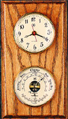 Brass Quartz Clock & Barometer/Thermometer on Oak Weather Station