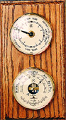 Brass Tide Clock & Barometer/Thermometer on Oak Weather Station
