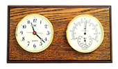Brass Quartz Clock & Thermometer/Hygrometer on Oak