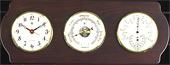 Brass Quartz Clock, Barometer & Thermo./Hygro. on Ash Weather Station