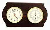 Brass Quartz Clock & Thermometer/Hygrometer on Ash