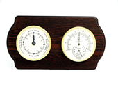Brass Tide Clock & Thermometer/Hygrometer on Ash