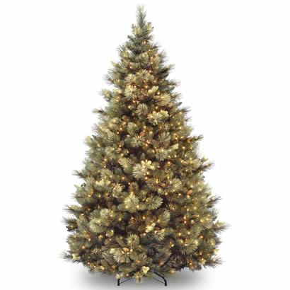 7 1/2 Ft. Carolina Pine Christmas Tree w/ Cones & 800 Clear Lights