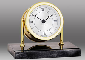 Chelsea Chatham Clock in Brass on Black Marble Base