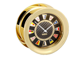 Chelsea Carbon Fiber Flag Clock in Brass