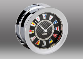 Chelsea Carbon Fiber Flag Clock in Chrome