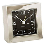 Chelsea Square Desk Alarm Clock in Nickel