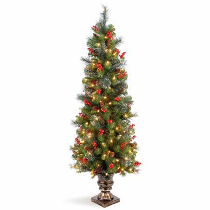 5 Ft. Spruce Entrance Christmas Tree w/ Cones & 150 Clear Lights