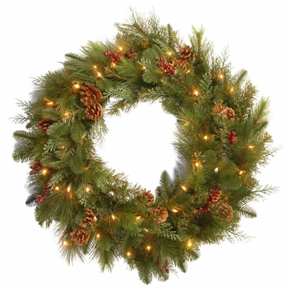 30 In. Mixed Christmas Wreath w/ Berries, Cones & 50 Soft White LEDs