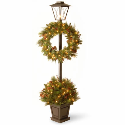 78 In. Lantern Potted Bush w/ Wreath, Cones & 100 Clear Lights