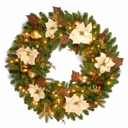 36 In. Inspired by Nature Christmas Wreath with 100 Clear Lights