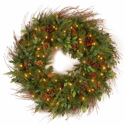 30 In. Juniper Mix Pine Christmas Wreath with 100 Clear Lights