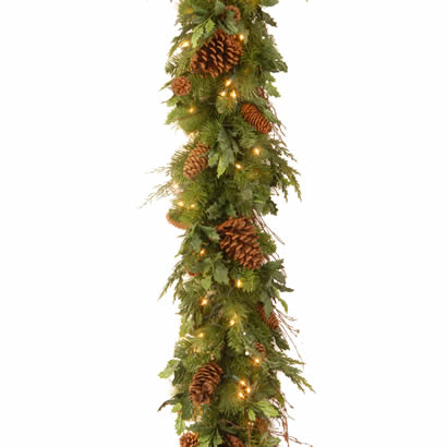 6 Ft. x 12 In. Juniper Mix Pine Christmas Garland w/ 100 Clear Lights