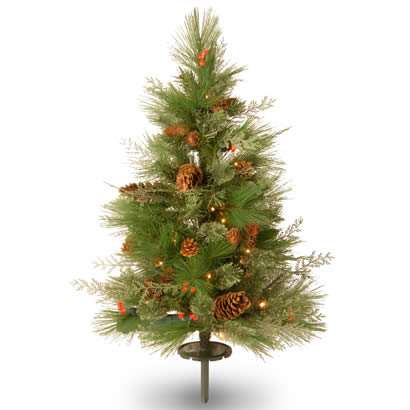 2.5 Ft. White Pine Pathway Christmas Tree w/ 63 White & Red LEDs