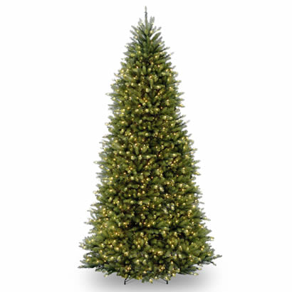 12 Ft. Dunhill Slim Fir Hinged Christmas Tree with 900 Clear Lights