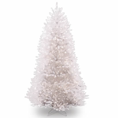 7 1/2 Ft. Dunhill Fir White Christmas Tree with 750 Clear Lights