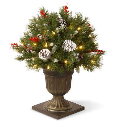 26 In. Frosted Berry Porch Christmas Bush w/ Cones & 50 Clear Lights