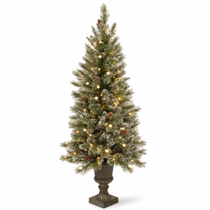 4 Ft. Glittery Pine Entrance Christmas Tree w/ Cones & 100 White LEDs