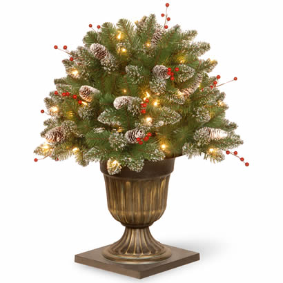 26 In. Glittery Spruce Christmas Bush w/ Cones & 50 Clear Lights