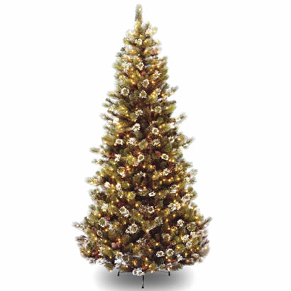 7 1/2 Ft. Glittery Pine Hinged Christmas Tree with 500 Clear Lights