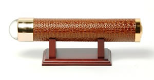 Brown Faux Crocodile Kaleidoscope w/ Wood Base