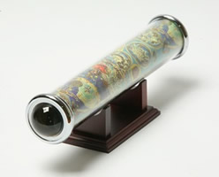 Tubular Kaleidoscope in Astrology Paper w/ Wood Base