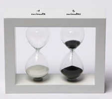 Contemporary 1 & 3 Minute Sand Timers in White Wood Frame