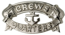 Nickel Plated Brass Crews Quarters Plaque