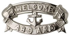 Nickel Plated Brass Welcome Aboard Plaque