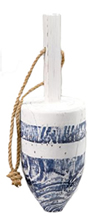 Blue & White Distressed Wooden Buoy