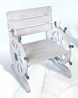 Distressed Wood Ship Wheel Chair