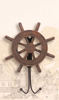 Antique Finish Wooden Ship Wheel Hanger