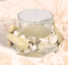 Frosted Glass Candle Holder w/ Driftwood & Shells