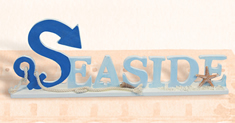 Blue & White Wooden Seaside Sign