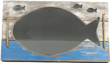 Nautical Distressed Wood Fish Mirror