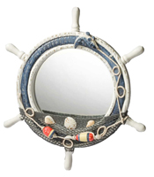 Wooden Ship Wheel Mirror